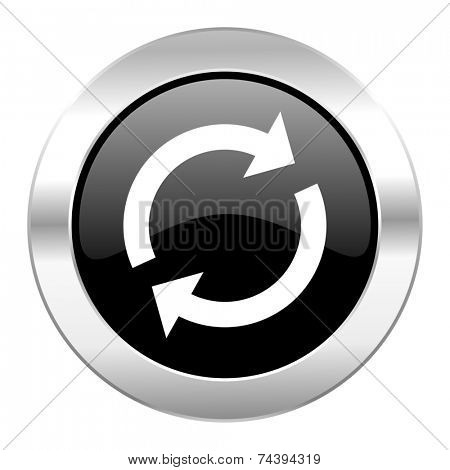 reload black circle glossy chrome icon isolated