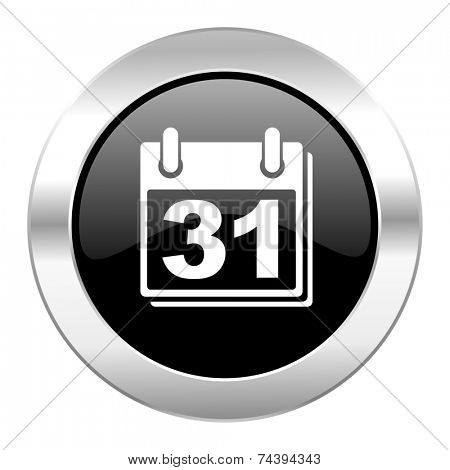 calendar black circle glossy chrome icon isolated