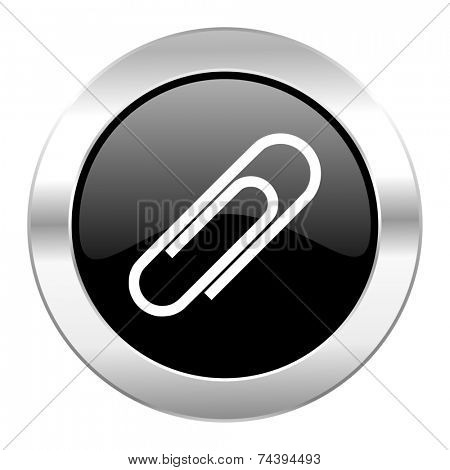 paperclip black circle glossy chrome icon isolated