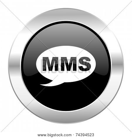 mms black circle glossy chrome icon isolated