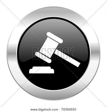 auction black circle glossy chrome icon isolated