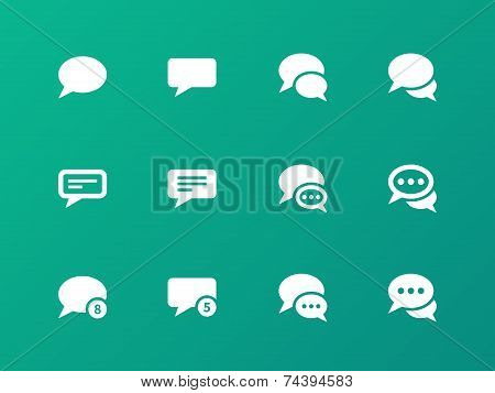 Message bubble icons on green background.
