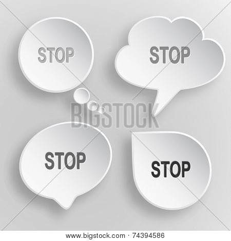Stop. White flat raster buttons on gray background.