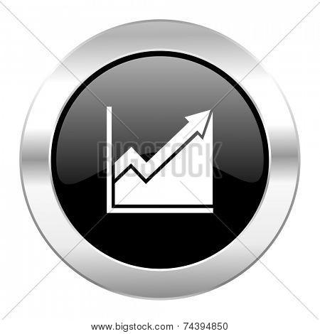 histogram black circle glossy chrome icon isolated