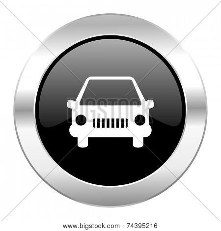 car black circle glossy chrome icon isolated