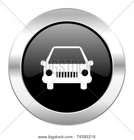 car black circle glossy chrome icon isolated