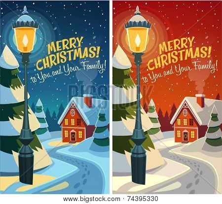 Old fashioned street light. Christmas card \ poster \ banner. Vector illustration.