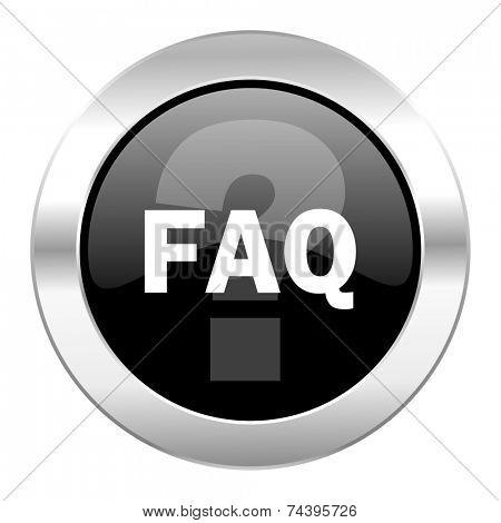 faq black circle glossy chrome icon isolated