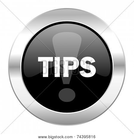 tips black circle glossy chrome icon isolated