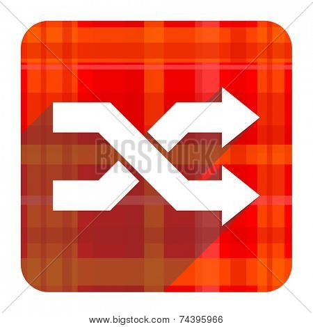aleatory red flat icon isolated
