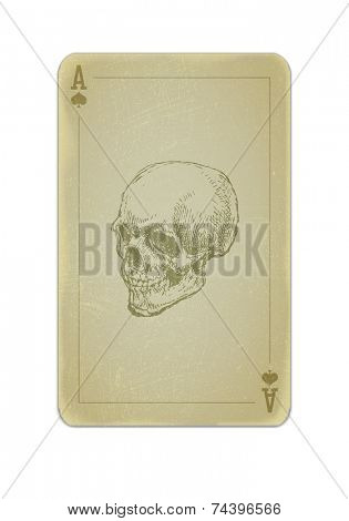 Poker card with skull. Grunge dirty style