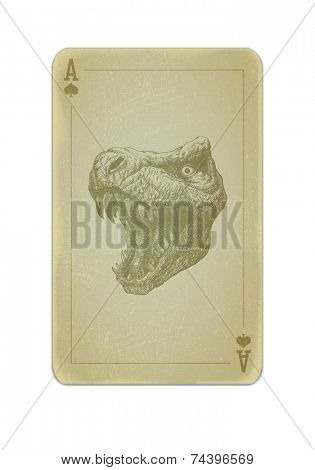 Poker card with trex. Grunge dirty style
