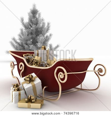 Christmas sledges of Santa with gifts and christmas tree on a white background