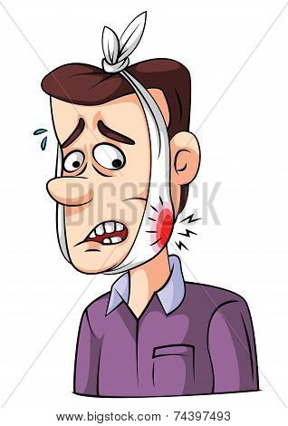 Cartoon Man with Toothache
