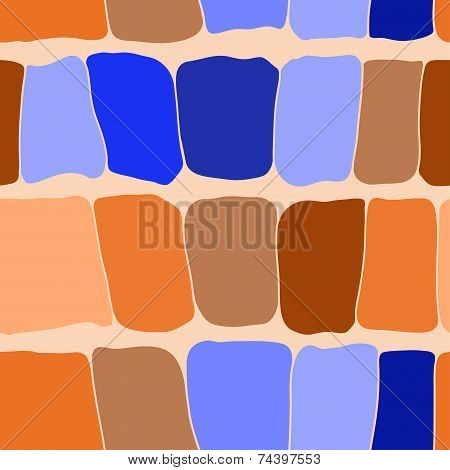 Reptile Skin Seamless Pattern Blue And Orange Spots Background. Vector