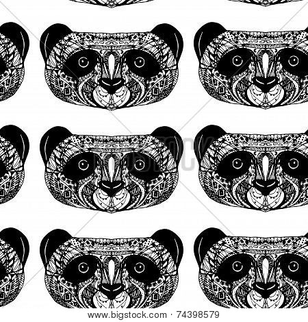 Panda On White Background Hand-drawing Head. Seamless Patern.