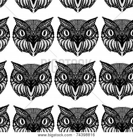 Owl Head. Doodle Hand Drawn. Seamless Patern Black On White Background