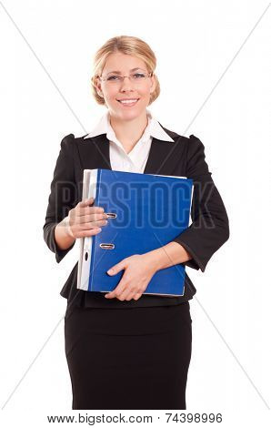 Business woman with folder on white background