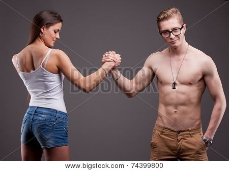 Man Vs Woman In An Arm Wrestling