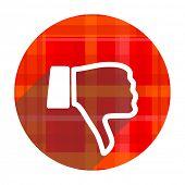 foto of dislike  - dislike red flat icon isolated - JPG