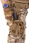 picture of glock  - Soldier man in camouflage uniform - JPG