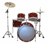 stock photo of drum-set  - Drum Kit isolated on a white background - JPG