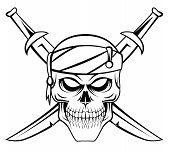image of skull crossbones flag  - Skull Pirate Editable Vector Art and Illustration Design - JPG