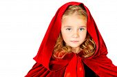 image of little red riding hood  - Beautiful little girl in a red raincoat with a hood - JPG