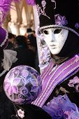 picture of sceptre  - Pretty mask posing in Venice carnival - JPG