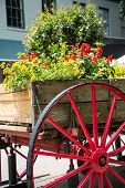 stock photo of planters  - An old wood cart with large red wagon wheel used as a garden planter