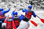 picture of raft  - River Rafting as extreme and fun sport - JPG