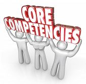 image of lifting-off  - Core Competencies words in red 3d letters held by three workers - JPG