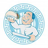 stock photo of gyro  - greek man is serving gyros or doner - JPG