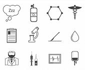 image of anesthesiology  - Set of black silhouette vector icons with elements for anesthesia on white background - JPG