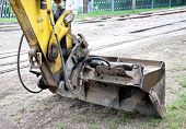 stock photo of dredge  - Detailed view of the modern excavator dredge in the day  - JPG