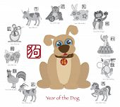 stock photo of rooster  - Chinese New Year of the Dog Color with Twelve Zodiacs with Chinese Symbol for Rat Ox Tiger Dragon Rabbit Snake Monkey Horse Goat Rooster Dog Pig Text in Circle Grayscale Vector Illustration - JPG