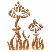 picture of morel mushroom  - Golden illustration of mushrooms on white background - JPG