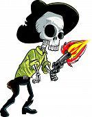 image of gunslinger  - Cartoon skeleton cowboy with gun - JPG