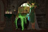 pic of witches cauldron  - A snake witch puts an evil spell on a cauldron full of green potions and seasonings - JPG