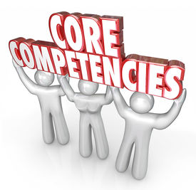 image of competing  - Core Competencies words in red 3d letters held by three workers - JPG