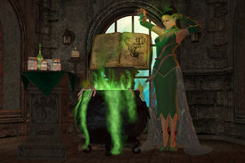 picture of witch-doctor  - A snake witch puts an evil spell on a cauldron full of green potions and seasonings - JPG