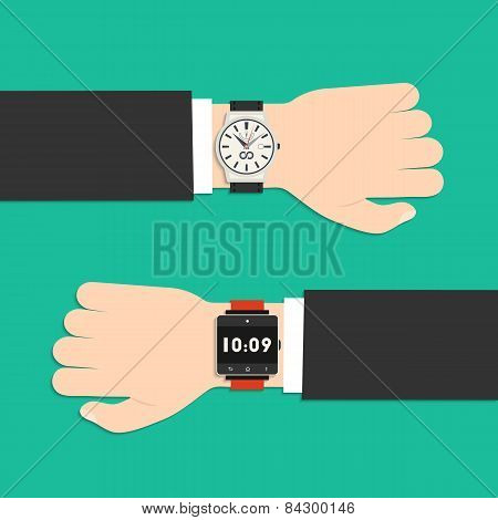 Analog Watch And Smart Watch On Businessman's Hand