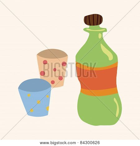 Birthday Party Drink Theme Elements Vector,eps