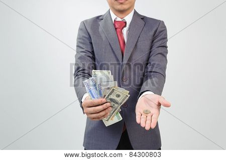 Man Showing Bank Note And Coin