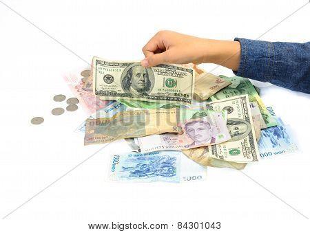 Kid Hand Picking American Dollar Bank Note