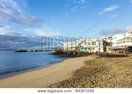 Early Morning View To The Promenade  In Playa Blanca
