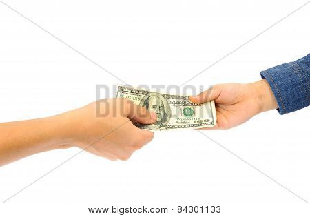 Man Hand Giving American Dollar Bank Note To Kid Hand