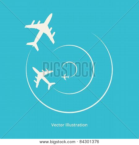 Vector Silhouette Of Aeroplanes