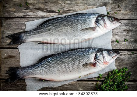 Two Raw Fresh Seabass With Thyme