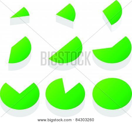 3D Green Piecharts. Process, Progress, Segment, Part, Slice, Segmentation, Diagram Vector